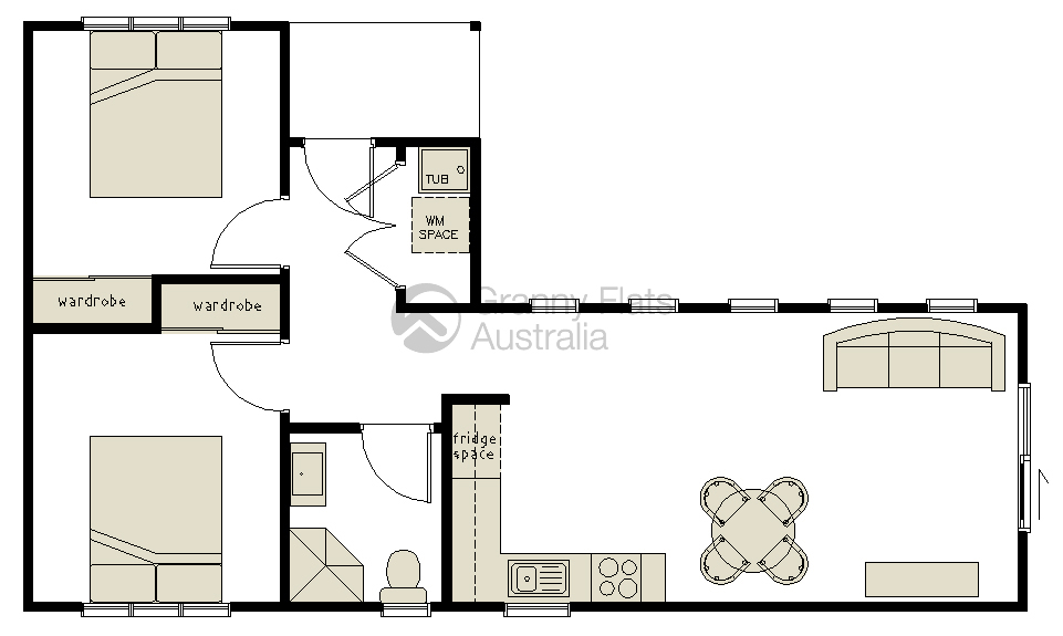 2 bedroom granny flat granny flats australia for Floor plan granny flat
