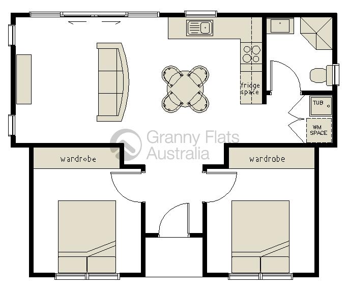 2 bedroom granny flat granny flats australia for Granny flat floor plans 1 bedroom